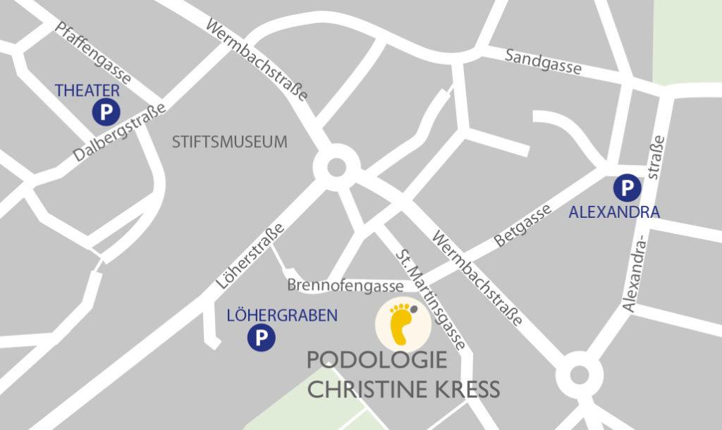 Aschaffenburg, Anfahrt, Karte, St. Martinsgasse